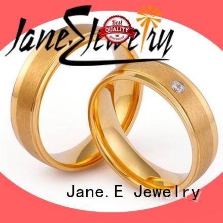 JaneE 316l steel hammered steel ring fashion design for weddings