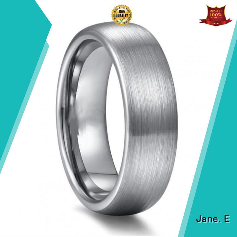 JaneE meteorite mens tungsten ring engraved for wedding