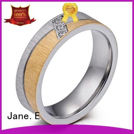 JaneE square edges cheap stainless steel rings fashion design for men