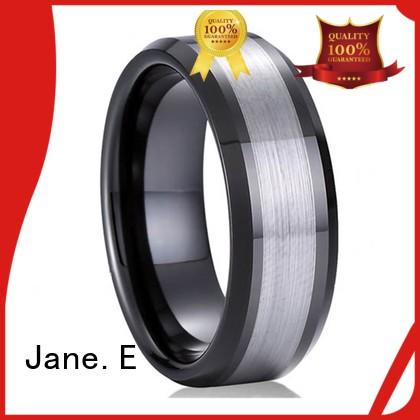 JaneE damascus texture tungsten engagement rings matt for wedding