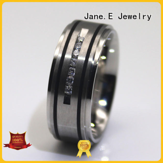square edges steel ring black top quality for weddings