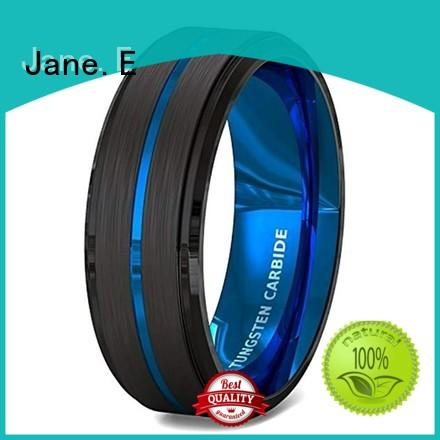 JaneE meteorite mens blue tungsten wedding bands exquisite for engagement