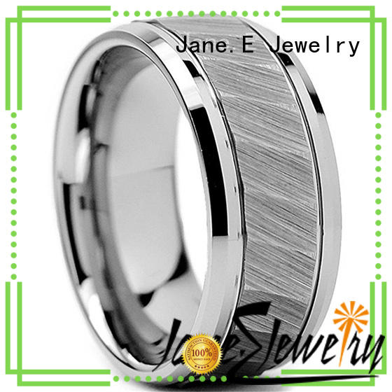 JaneE shiny polished personalized tungsten rings koa wood for engagement