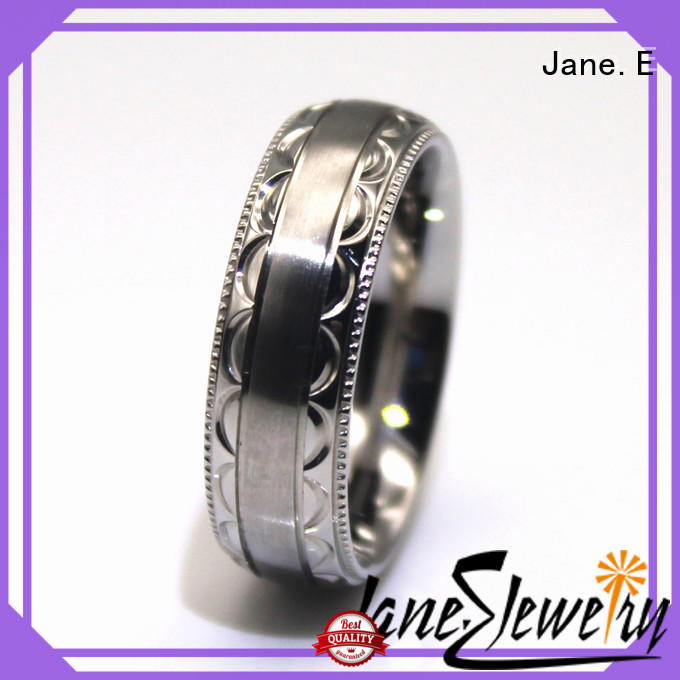 JaneE brown stainless steel promise rings for her multi colors for men