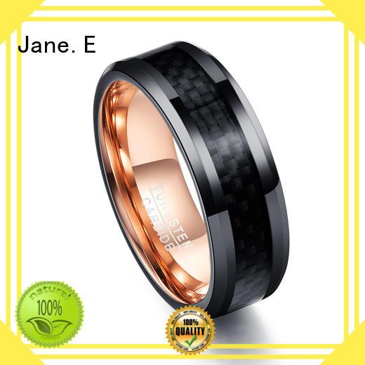 JaneE unique design mens tungsten ring matt for wedding