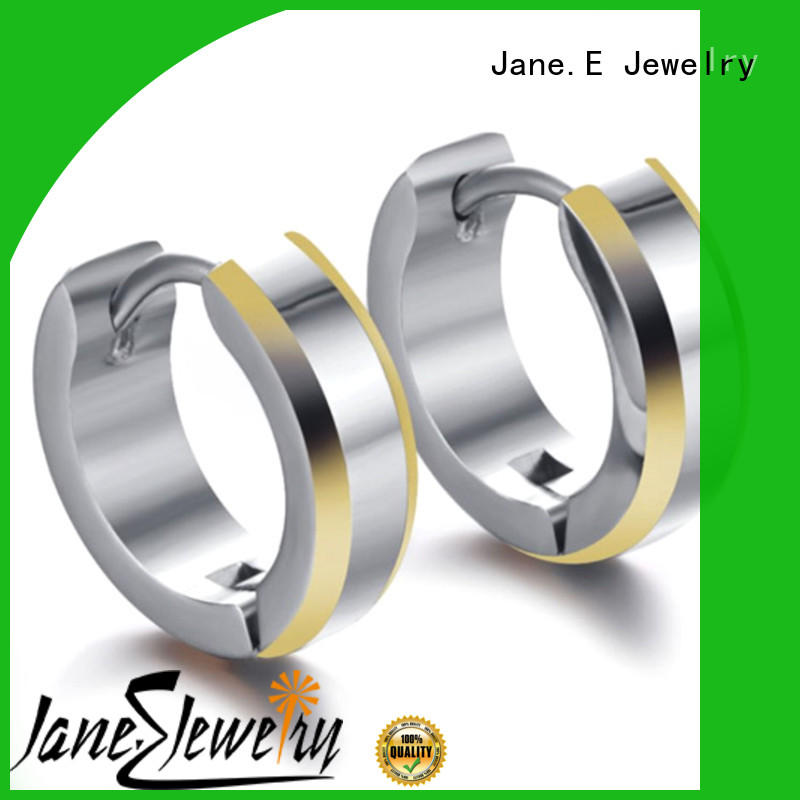 JaneE cubic titanium stud earrings hot selling for women