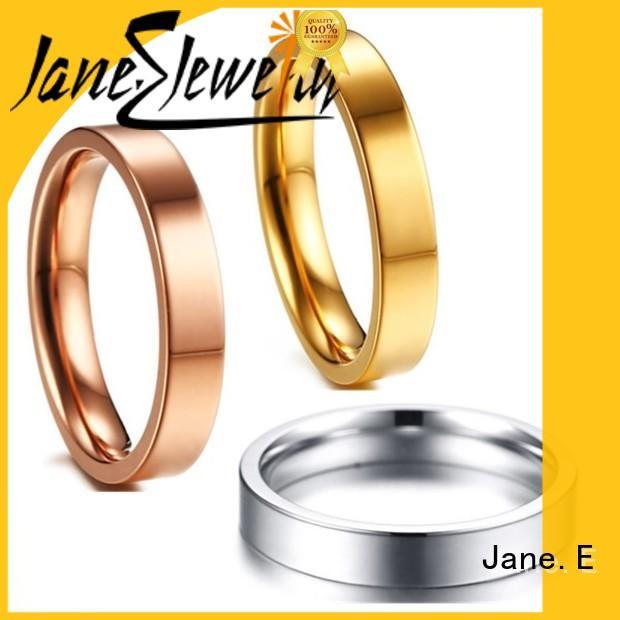JaneE hypoallergenic titanium wedding rings simple for wedding