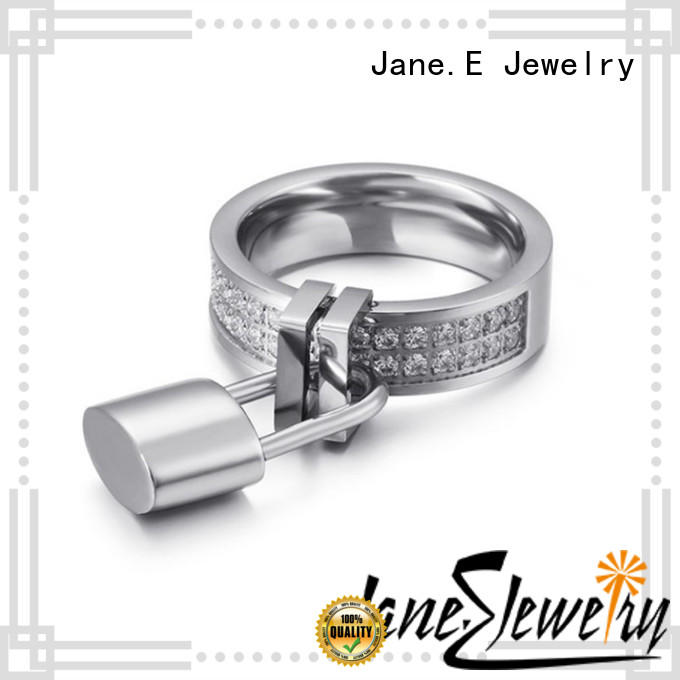 JaneE factory direct stainless steel promise rings for her multi colors for weddings