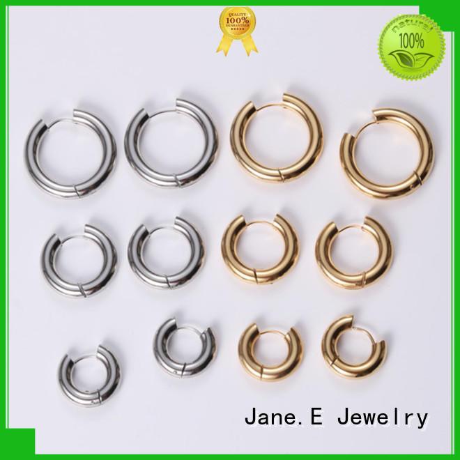 JaneE round surgical steel hoop earrings pendants for women