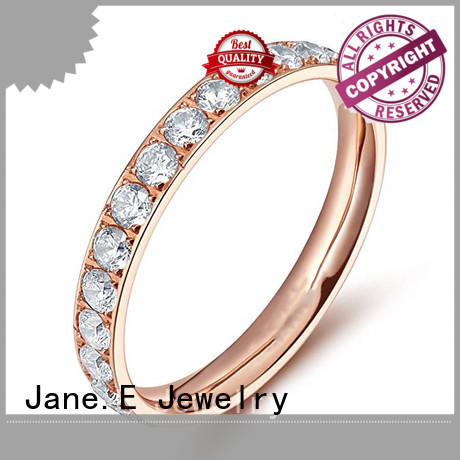 JaneE sparkle sandblasting titanium rings for women for wood crafts for wedding