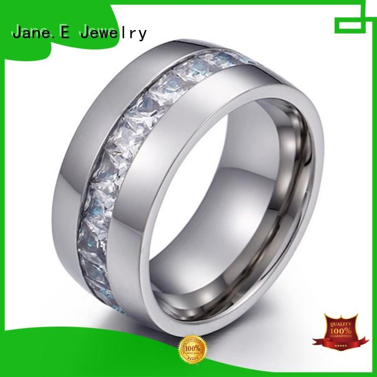 JaneE square edges stainless steel mens wedding bands comfortable for men