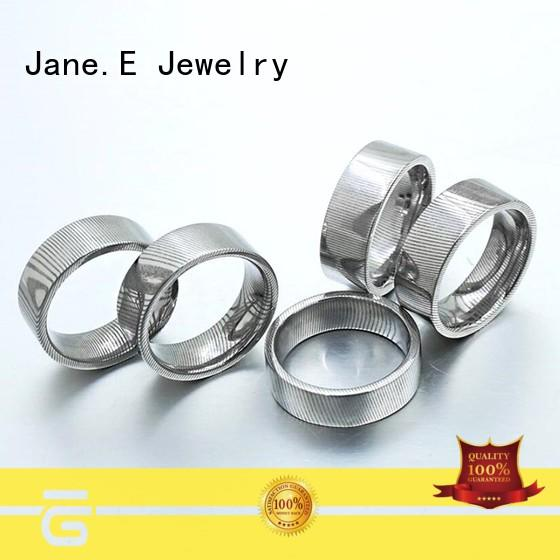 JaneE PVD/Ion plating damascus steel mens wedding ring factory direct for wedding