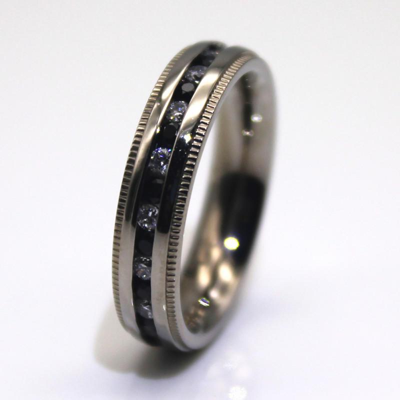 JaneE shiny mens stainless wedding bands milgrain for weddings-3