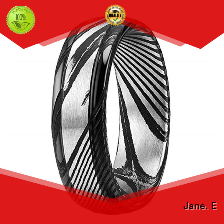 JaneE watery or wavy patterns damascus steel engagement ring wholesale for wedding