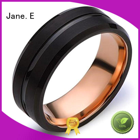 inlay brushed wood tungsten ring engraved for gift