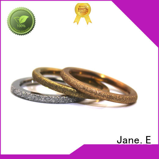 JaneE 18k gold stainless steel wedding bands multi colors for weddings