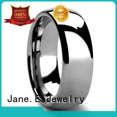shiny polished tungsten wedding band meteorite engraved for gift
