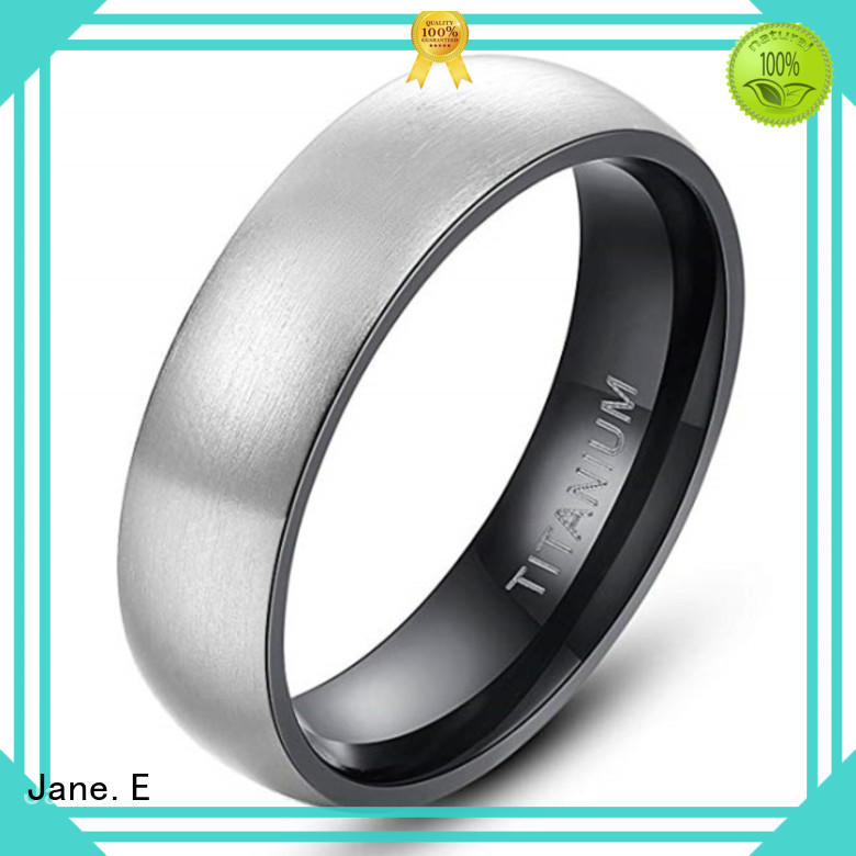 JaneE hypoallergenic black mens rings titanium factory direct for engagement