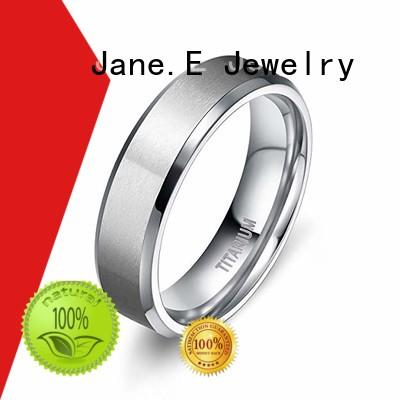 JaneE polished edge 10mm titanium ring wholesale for wedding