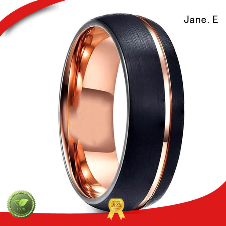 JaneE inlay brushed engraved tungsten rings matt for engagement