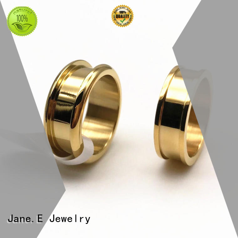 JaneE gunmetal stainless steel mens wedding bands top quality for decoration