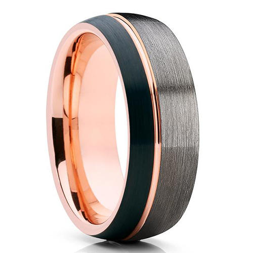 JaneE damascus texture black tungsten rings matt for engagement-2