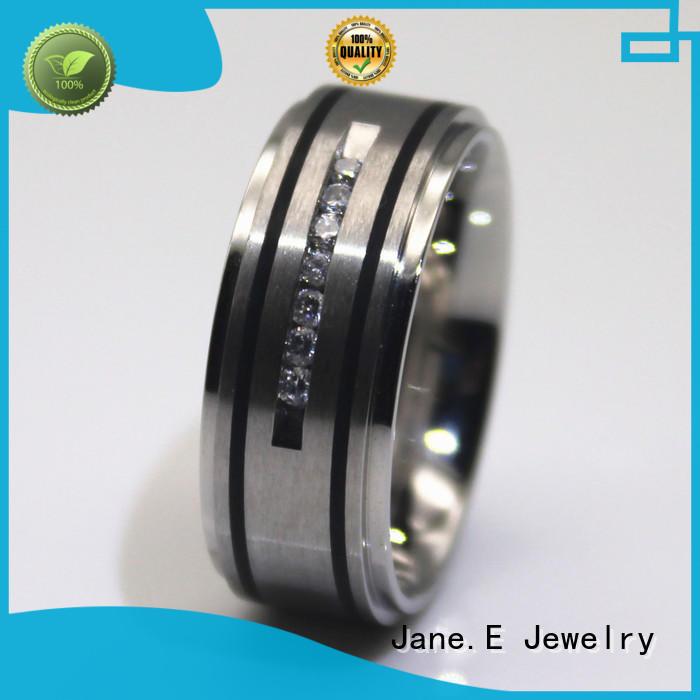 JaneE square edges mens stainless rings comfortable for men