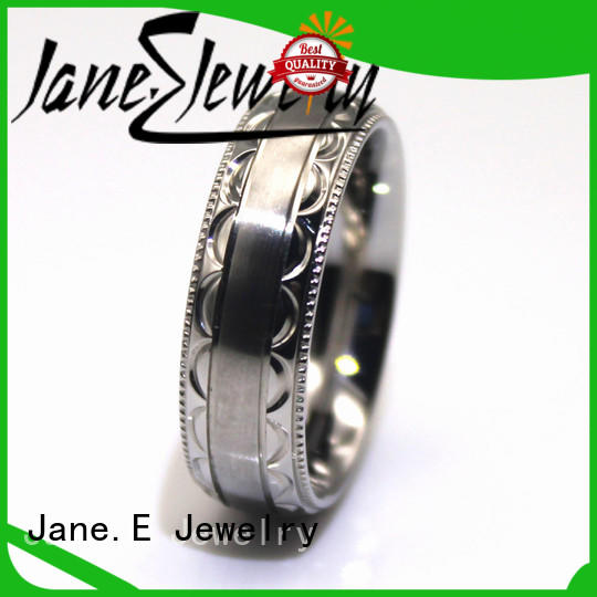 JaneE blue stainless steel mens wedding bands fashion design for decoration