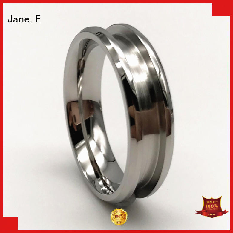 JaneE inlay stainless steel promise rings for couples top quality for weddings