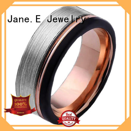 JaneE two tones mens tungsten carbide wedding bands matt for wedding