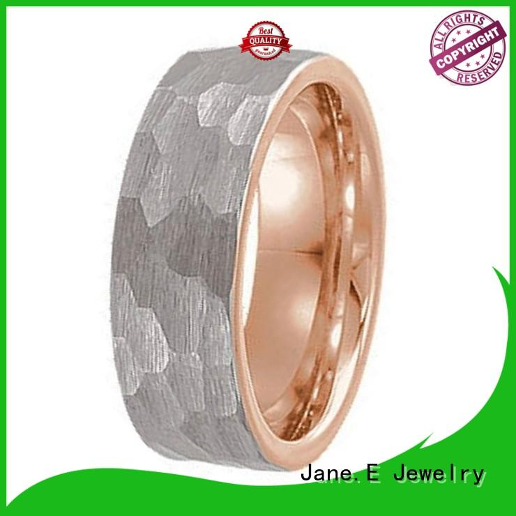 JaneE damascus texture tungsten band rings exquisite for wedding