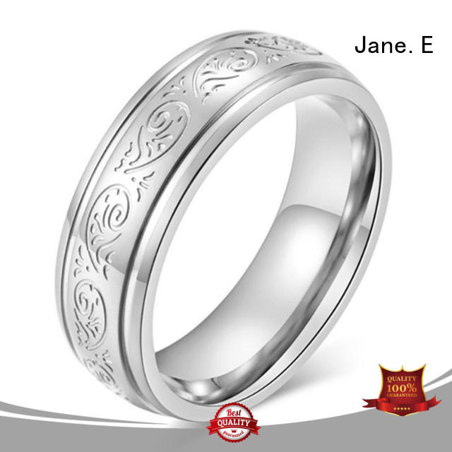 JaneE square edges hammered steel ring comfortable for weddings