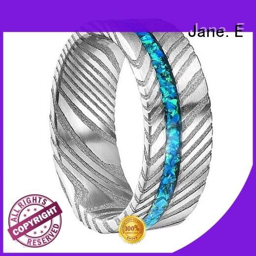 JaneE hard damascus steel mens wedding band wholesale for inlay