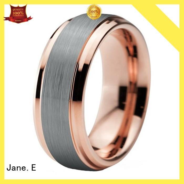 JaneE red opal black tungsten wedding bands matt for gift