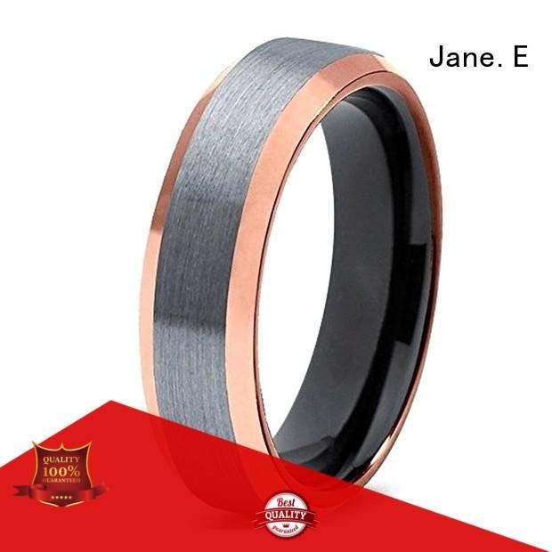 JaneE inlay brushed mens tungsten ring matt for gift