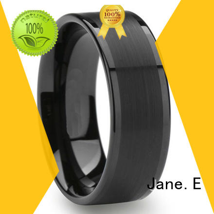 shiny polished tungsten engagement rings damascus texture exquisite for gift