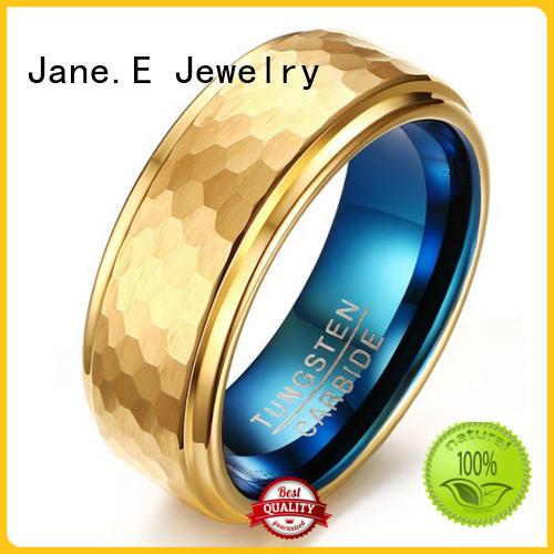 JaneE unique design tungsten wedding bands for her matt for engagement