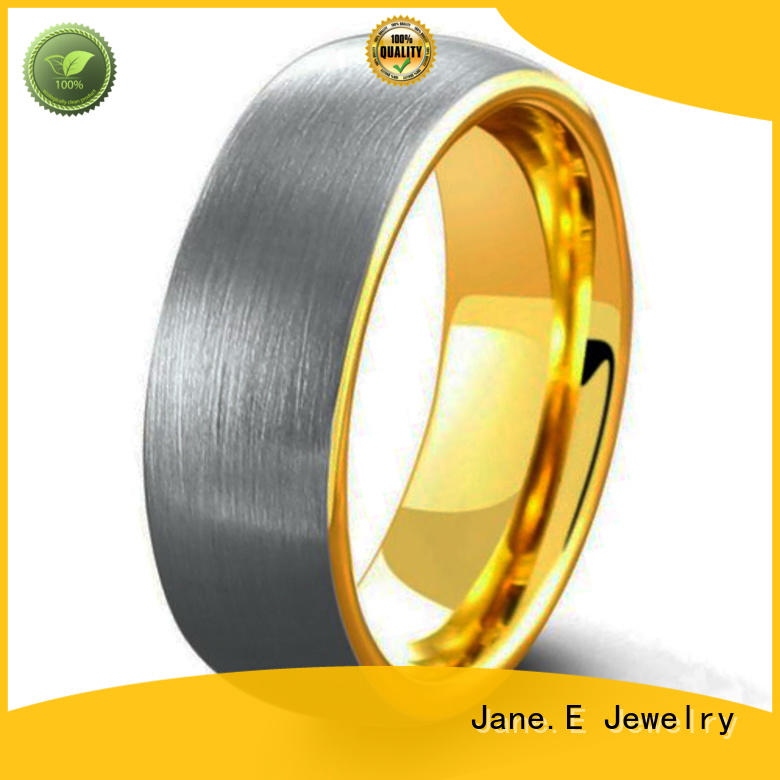 JaneE traditional wood inlay wedding band engraved for gift
