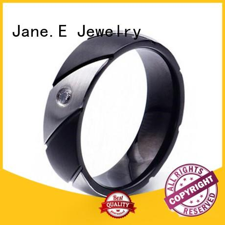 JaneE inlay stainless steel wedding bands fashion design for weddings