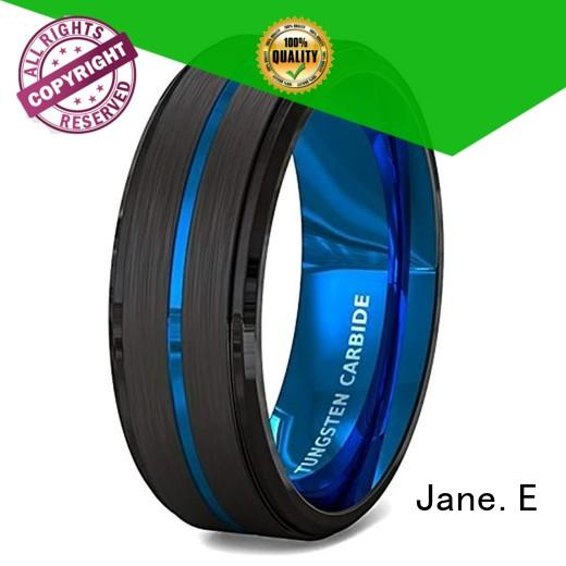 red opal black tungsten carbide rings engraved for gift JaneE