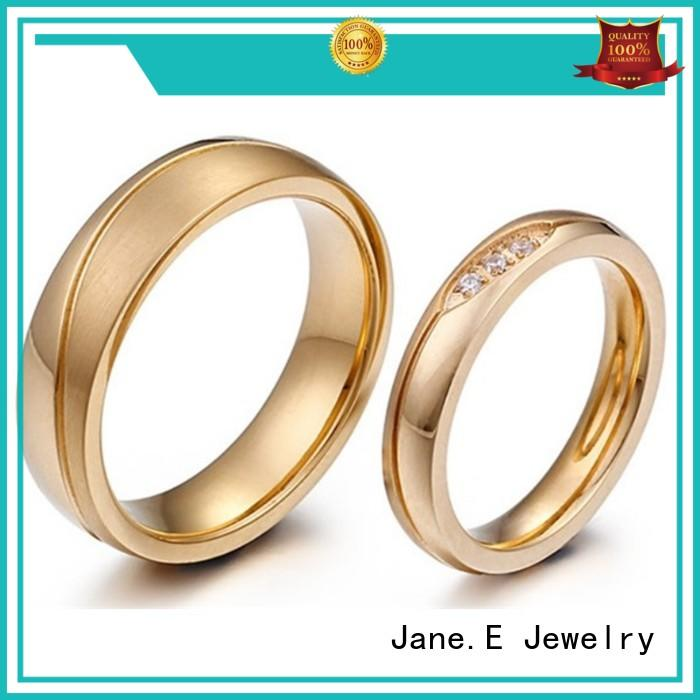 JaneE black black stainless steel mens ring fashion design for men