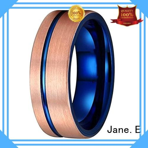 JaneE shiny polished tungsten rings for women engraved for wedding
