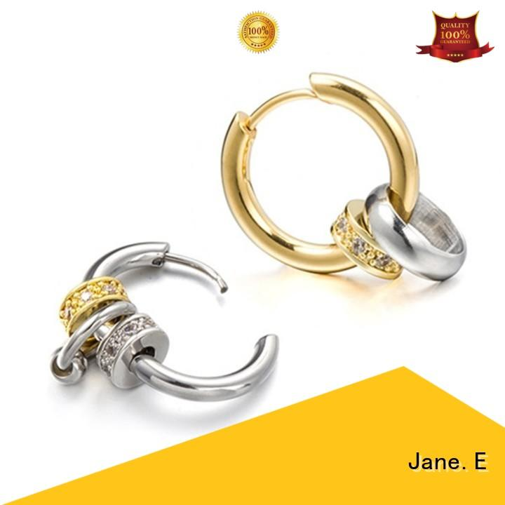 JaneE stylish stainless steel cuff earrings multi beads for decoration