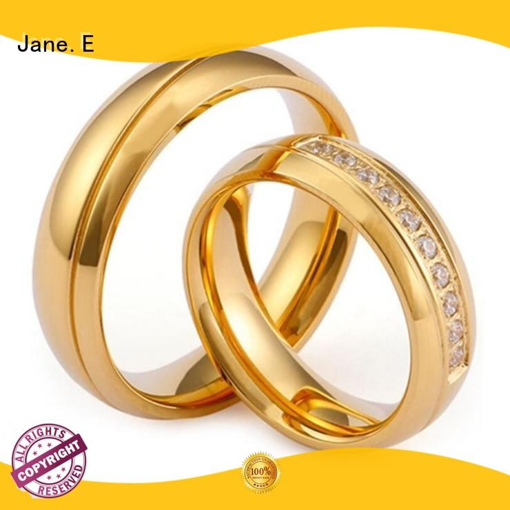 JaneE square edges stainless steel couple rings comfortable for men