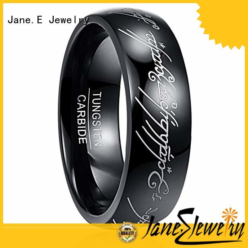 JaneE shiny polished opal inlay wedding band inlay brushed for wedding
