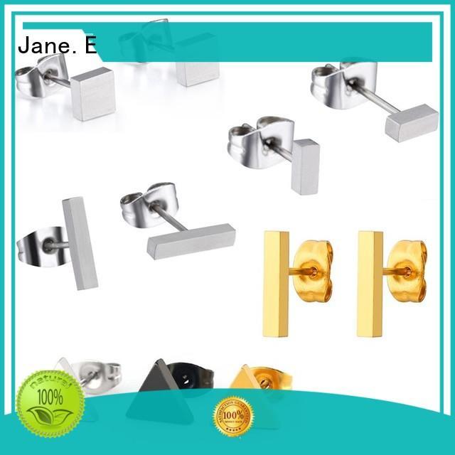 JaneE big stub bar titanium earrings for men hot selling for gift