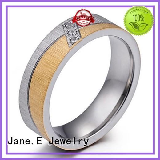 JaneE AAA CZ Stones hammered steel ring comfortable for men
