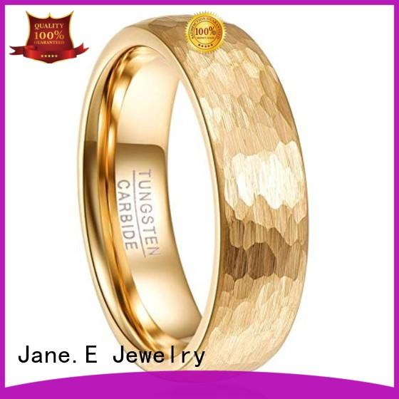 JaneE damascus texture blue tungsten wedding bands engraved for gift