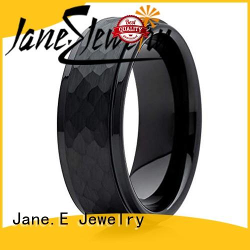 damascus texture tungsten carbide gold ring engraved for engagement JaneE