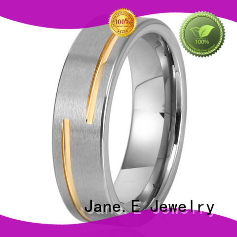 JaneE traditional engraved tungsten rings engraved for wedding
